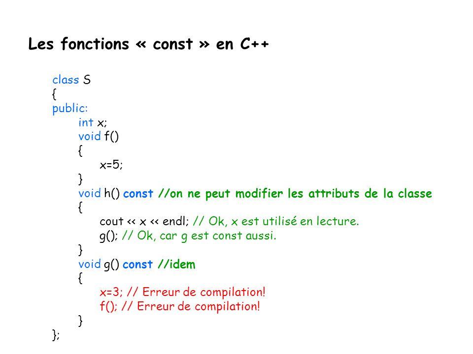 Les fonctions « const » en C++