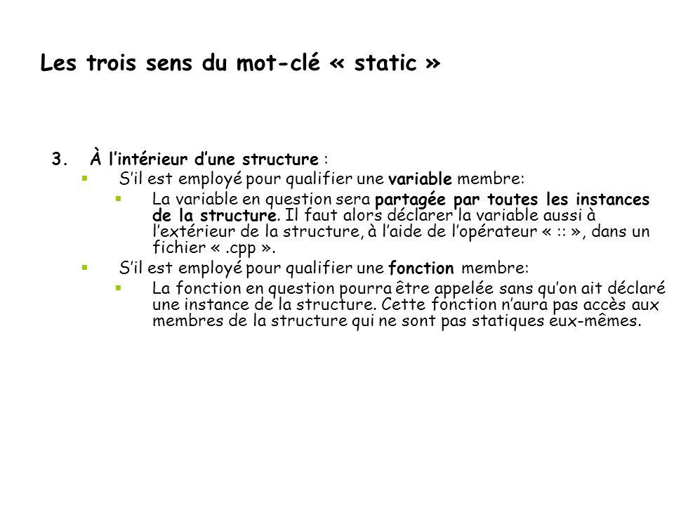 Les trois sens du mot-clé « static »