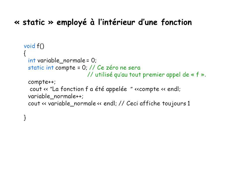 « static » employé à l'intérieur d'une fonction
