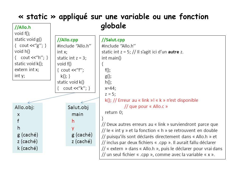 « static » appliqué sur une variable ou une fonction globale