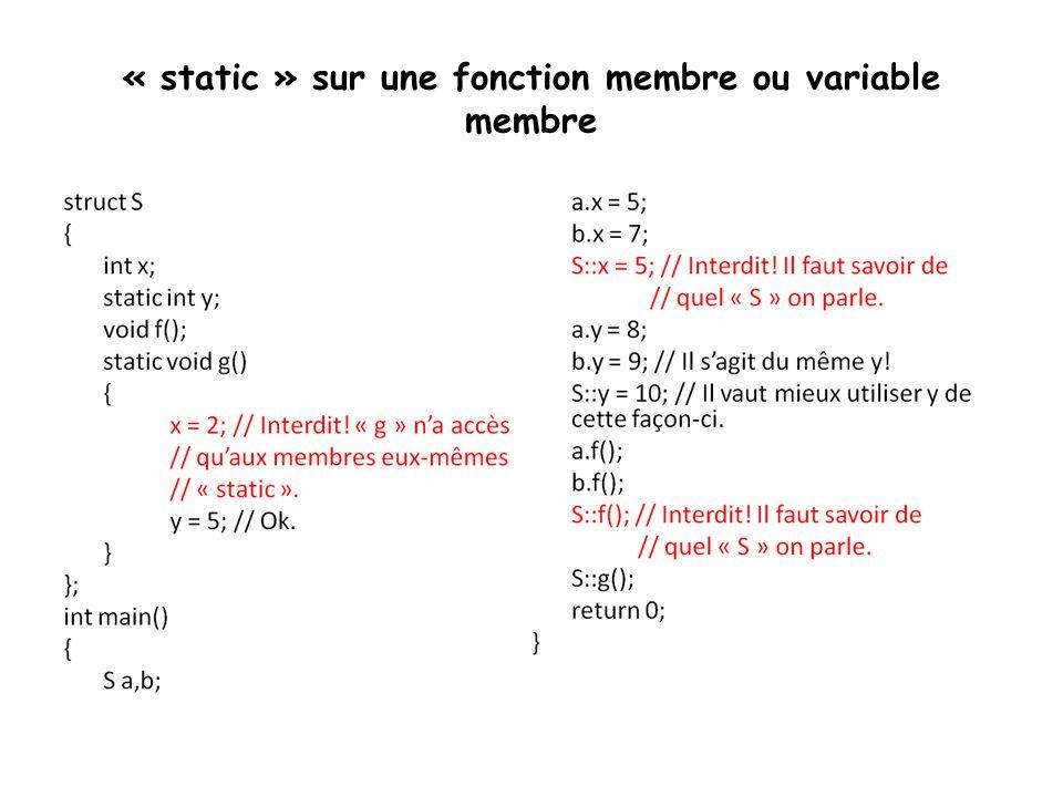 « static » sur une fonction membre ou variable membre