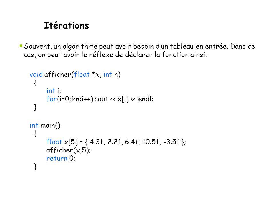 Itérations Souvent, un algorithme peut avoir besoin d'un tableau en entrée. Dans ce cas, on peut avoir le réflexe de déclarer la fonction ainsi: