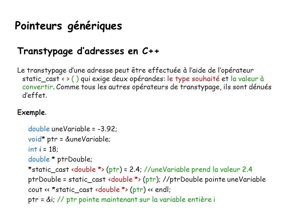 Pointeurs génériques Transtypage d'adresses en C++