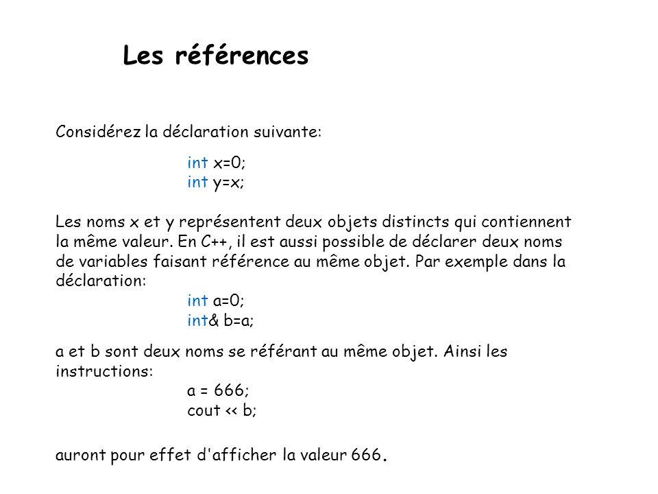 Les références Considérez la déclaration suivante: int x=0; int y=x;