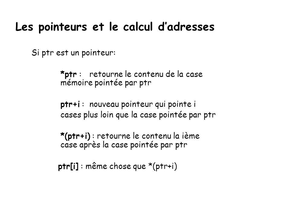 Les pointeurs et le calcul d'adresses