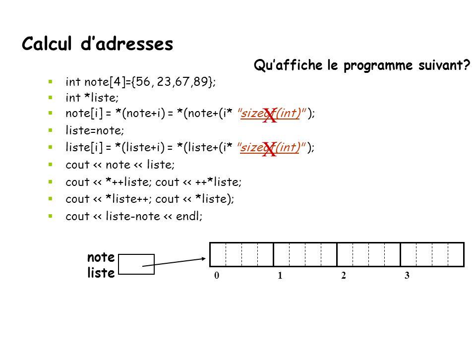 X X Calcul d'adresses Qu'affiche le programme suivant note liste