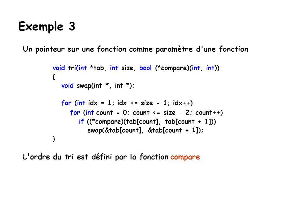 Exemple 3 Un pointeur sur une fonction comme paramètre d une fonction
