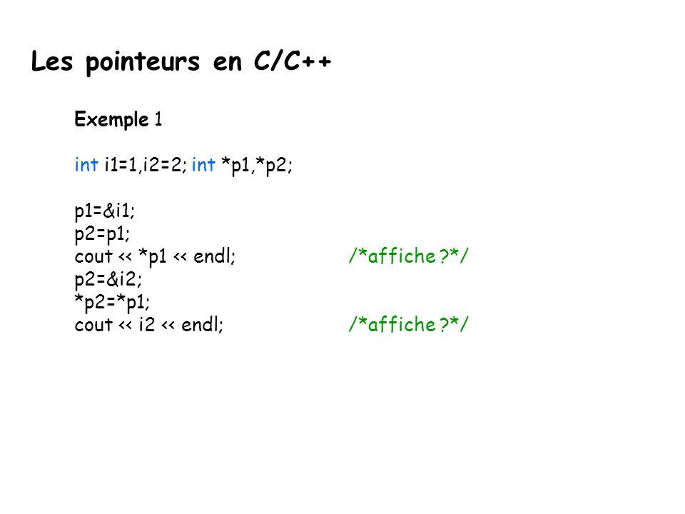Les pointeurs en C/C++ Exemple 1 int i1=1,i2=2; int *p1,*p2; p1=&i1;
