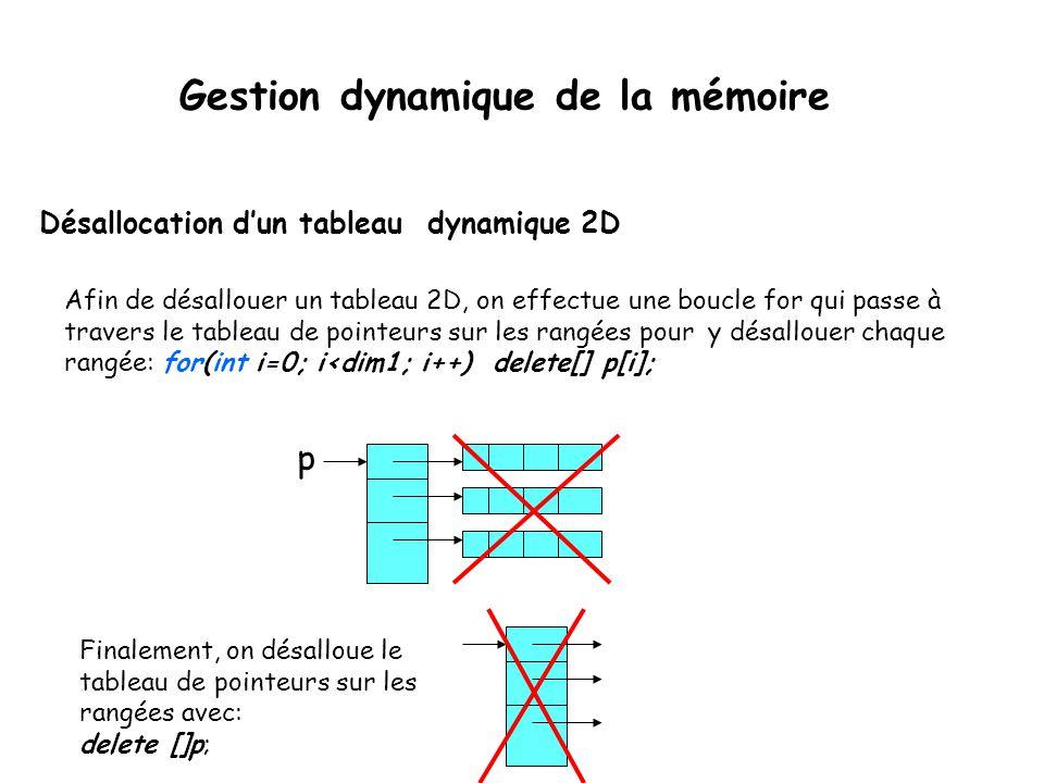 Désallocation d'un tableau dynamique 2D