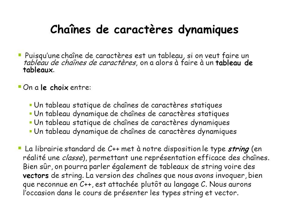 Chaînes de caractères dynamiques