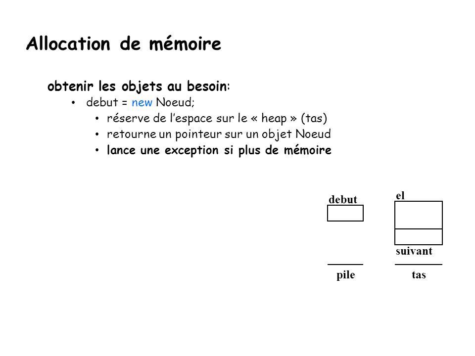 Allocation de mémoire obtenir les objets au besoin: debut = new Noeud;