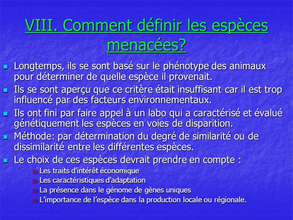 VIII. Comment définir les espèces menacées
