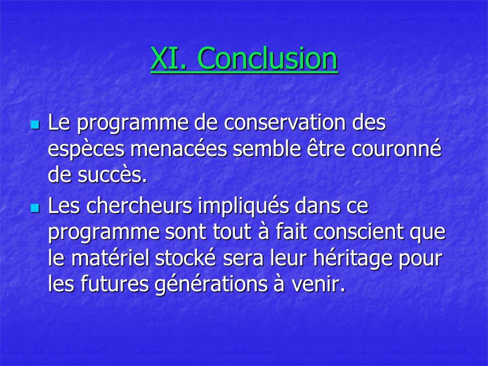 XI. Conclusion Le programme de conservation des espèces menacées semble être couronné de succès.