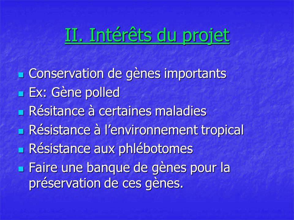 II. Intérêts du projet Conservation de gènes importants