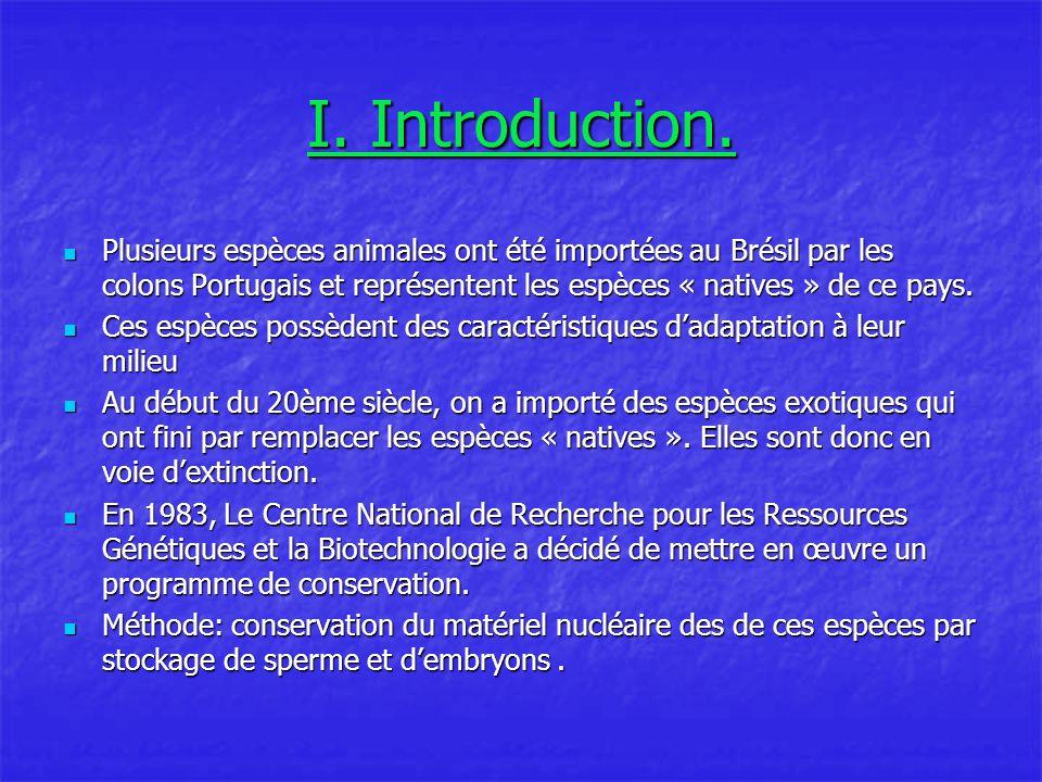 I. Introduction. Plusieurs espèces animales ont été importées au Brésil par les colons Portugais et représentent les espèces « natives » de ce pays.
