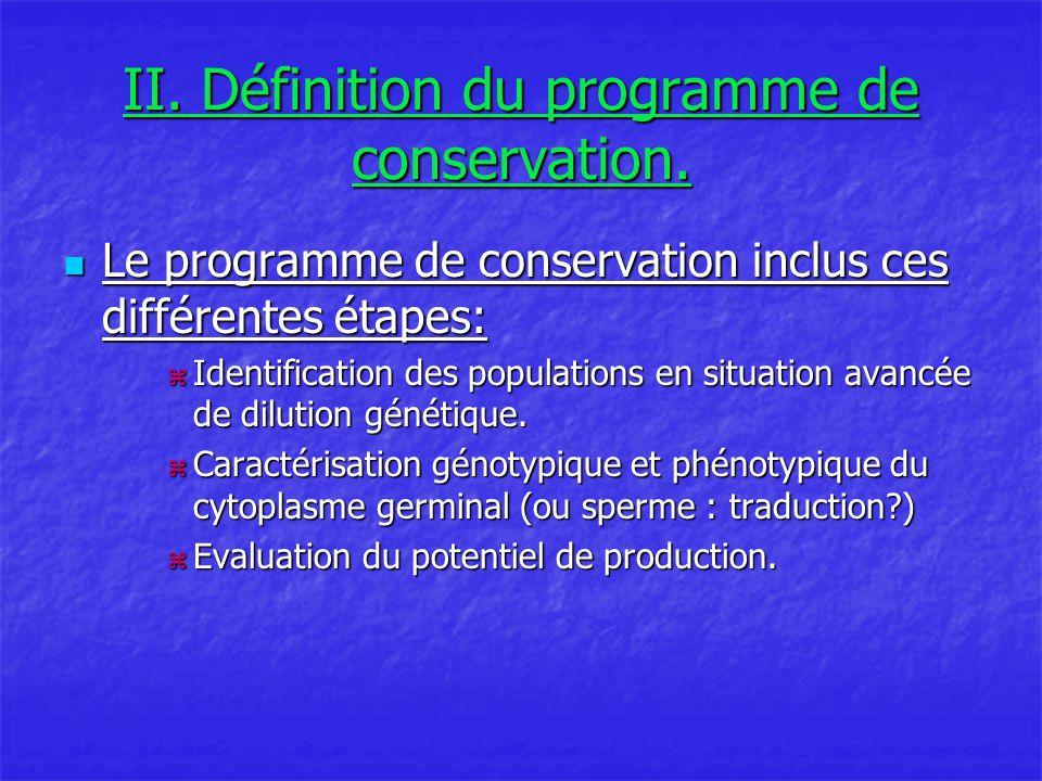 II. Définition du programme de conservation.
