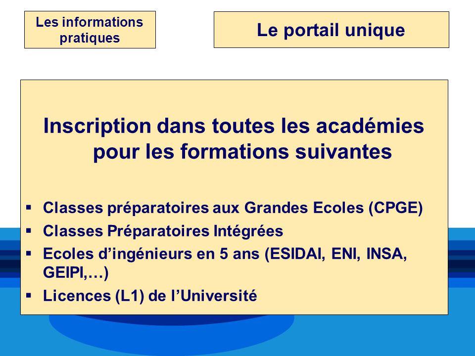 Inscription dans toutes les académies pour les formations suivantes