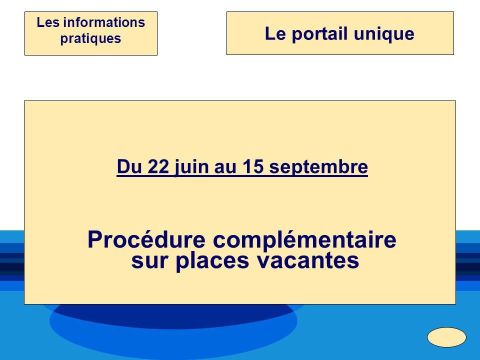 Les informations pratiques Procédure complémentaire