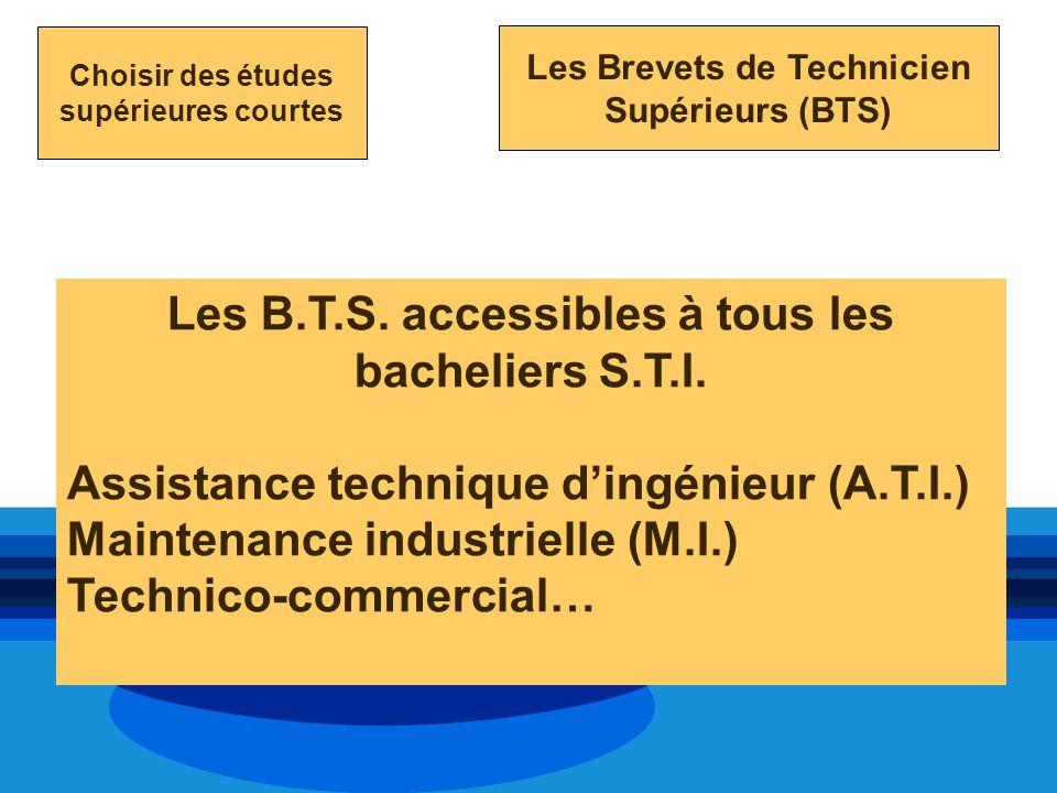 Les B.T.S. accessibles à tous les bacheliers S.T.I.