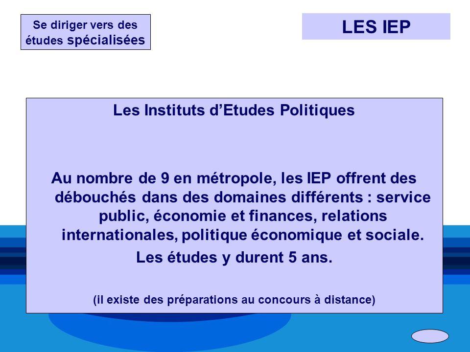 LES IEP Les Instituts d'Etudes Politiques