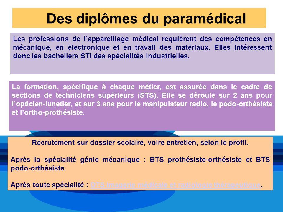Des diplômes du paramédical