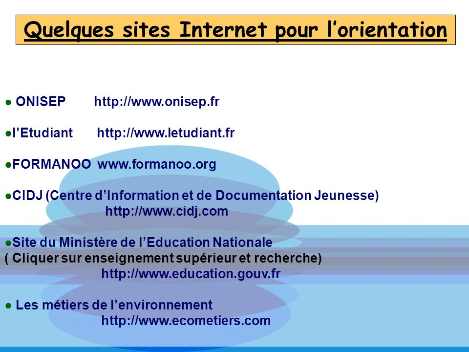 Quelques sites Internet pour l'orientation