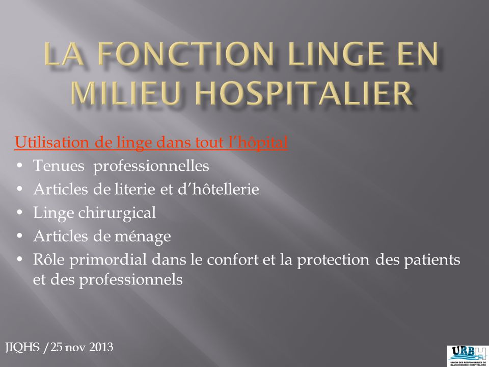 La Fonction linge en milieu hospitalier