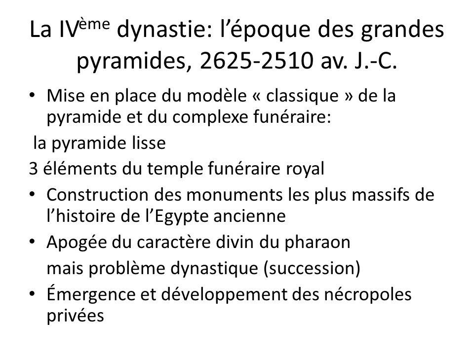 La IVème dynastie: l'époque des grandes pyramides, 2625-2510 av. J.-C.