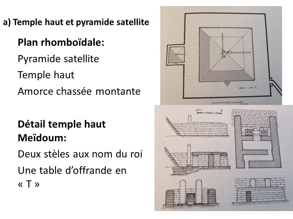 a) Temple haut et pyramide satellite