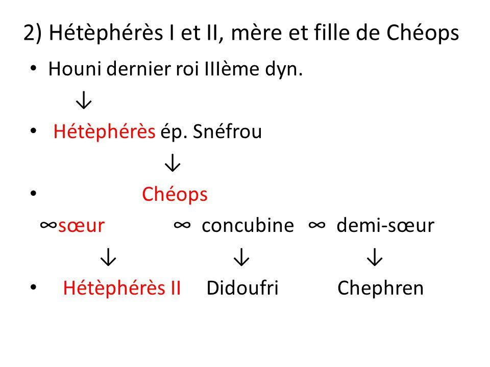 2) Hétèphérès I et II, mère et fille de Chéops
