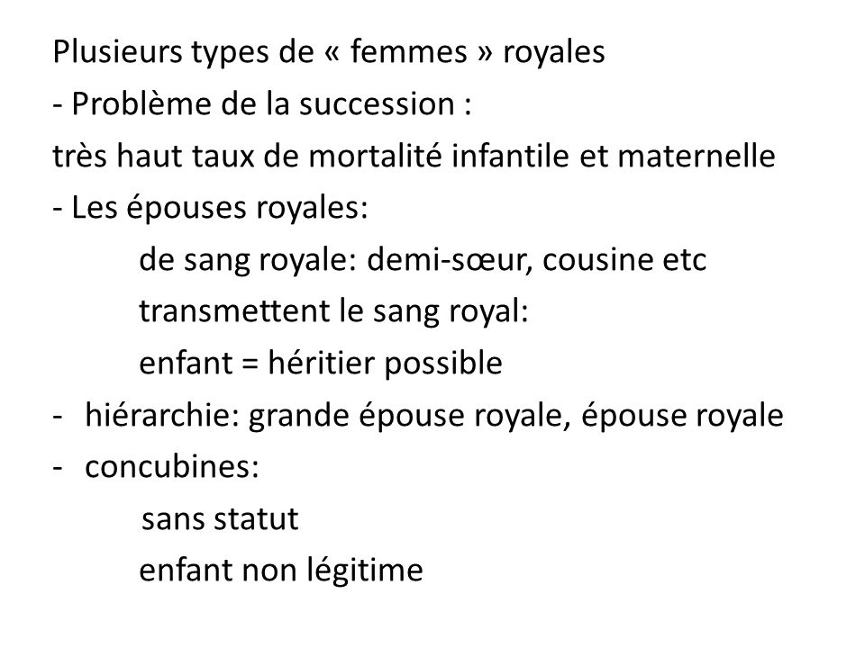 Plusieurs types de « femmes » royales