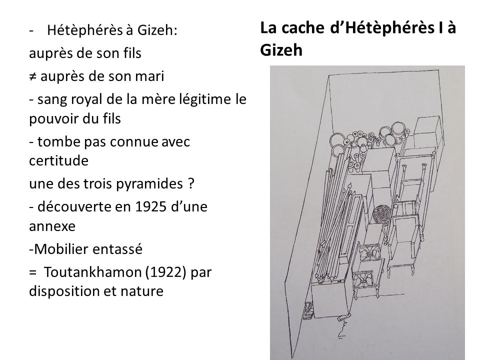La cache d'Hétèphérès I à Gizeh