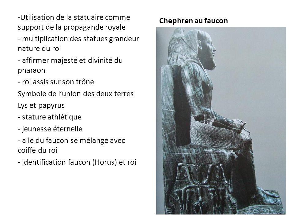 Chephren au faucon Utilisation de la statuaire comme support de la propagande royale. multiplication des statues grandeur nature du roi.