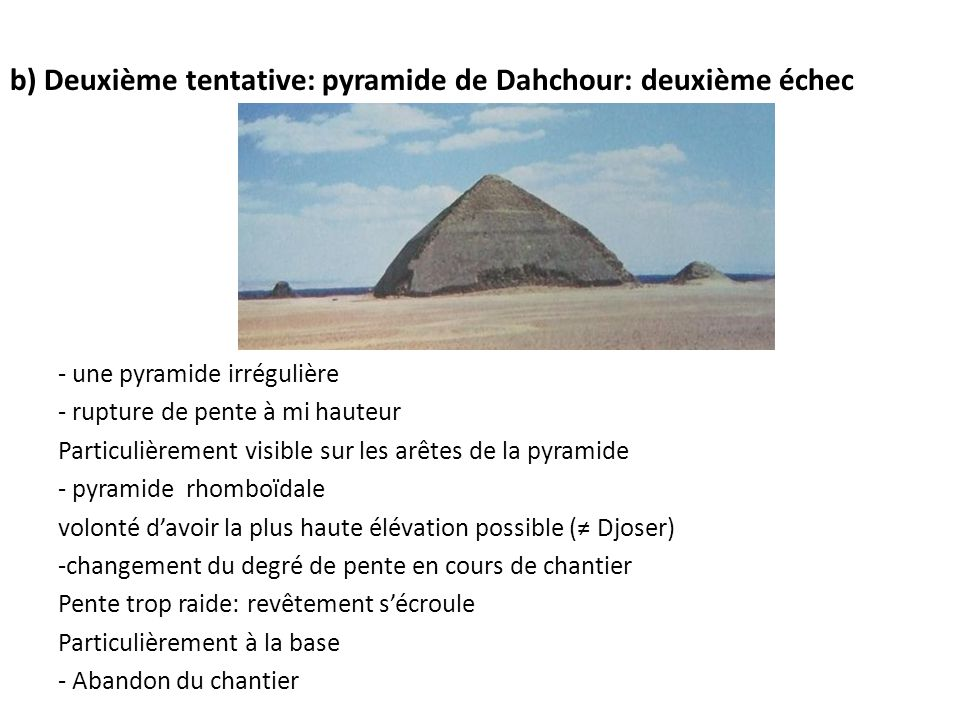 b) Deuxième tentative: pyramide de Dahchour: deuxième échec