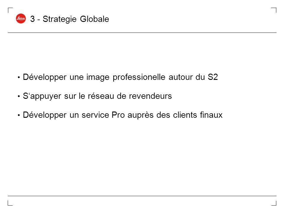 3 - Strategie Globale Développer une image professionelle autour du S2. S'appuyer sur le réseau de revendeurs.