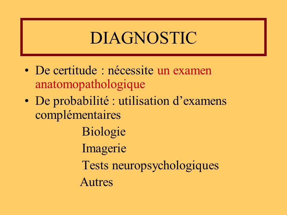 DIAGNOSTIC De certitude : nécessite un examen anatomopathologique