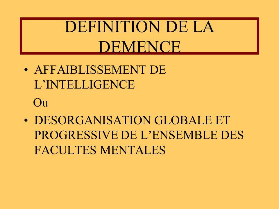 DEFINITION DE LA DEMENCE