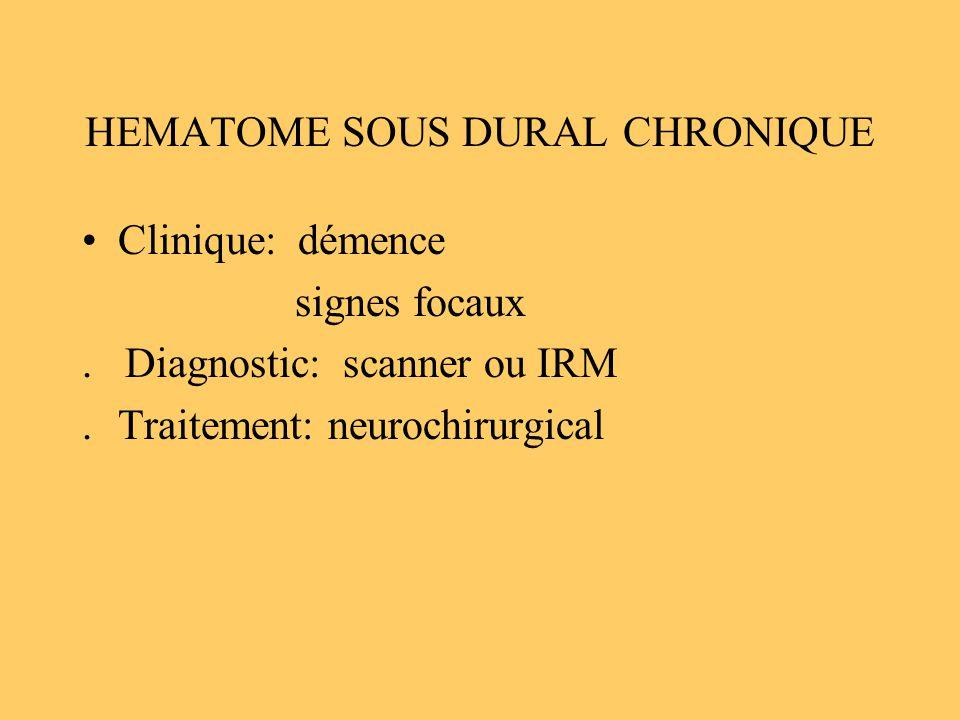 HEMATOME SOUS DURAL CHRONIQUE