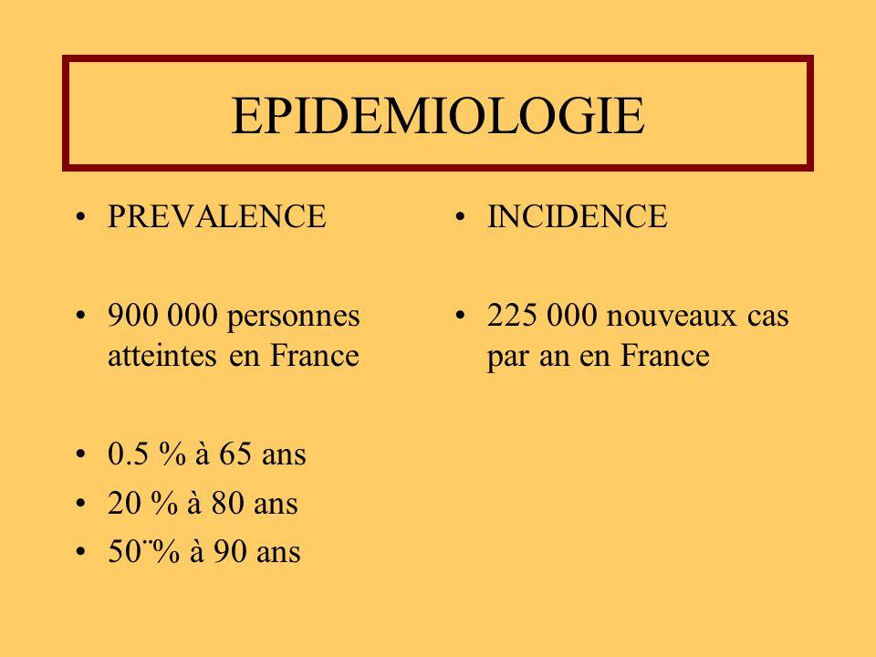 EPIDEMIOLOGIE PREVALENCE 900 000 personnes atteintes en France