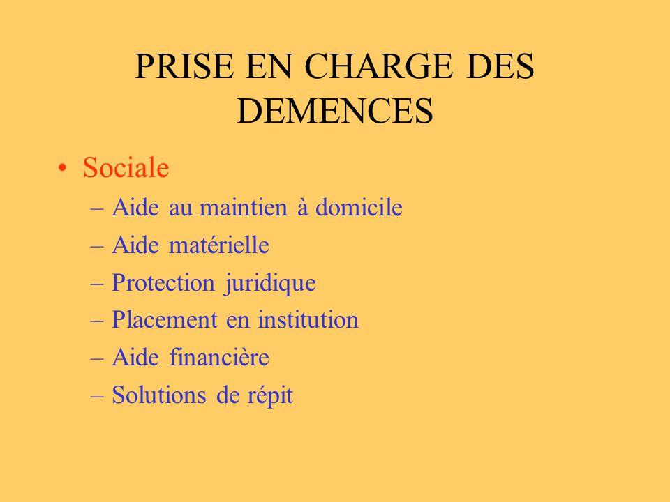 PRISE EN CHARGE DES DEMENCES