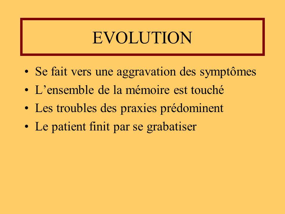 EVOLUTION Se fait vers une aggravation des symptômes