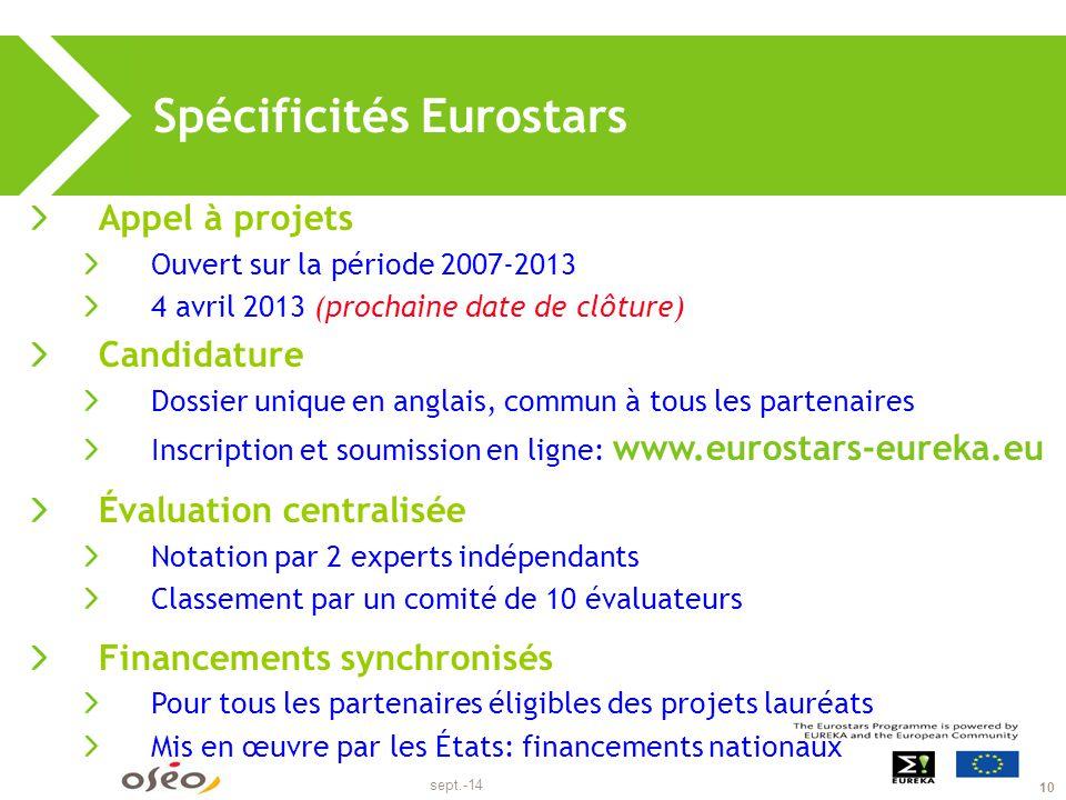 Eurostars, critères d'éligibilité