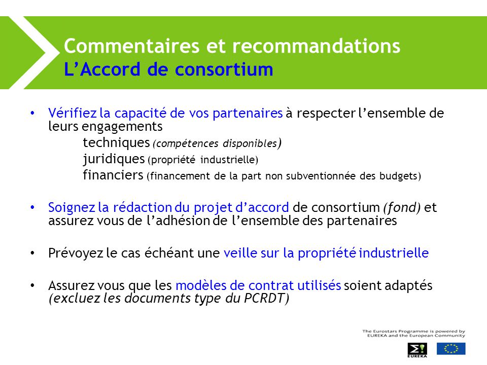 Commentaires et recommandations L'Accord de consortium