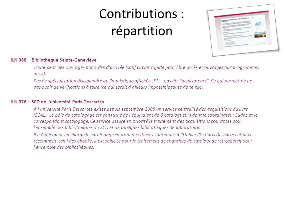 Contribution : harmonisation