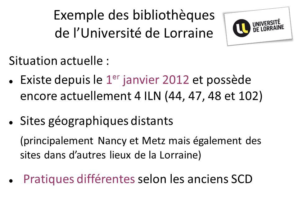 Exemple des bibliothèques de l'Université de Lorraine