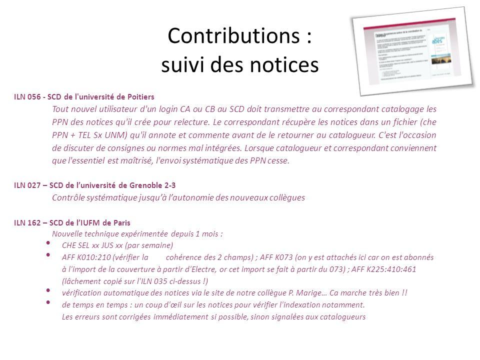 Contributions : suivi des notices