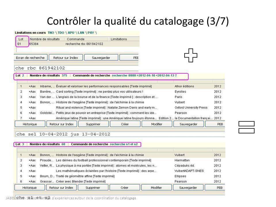 Contrôler la qualité du catalogage (4/7)