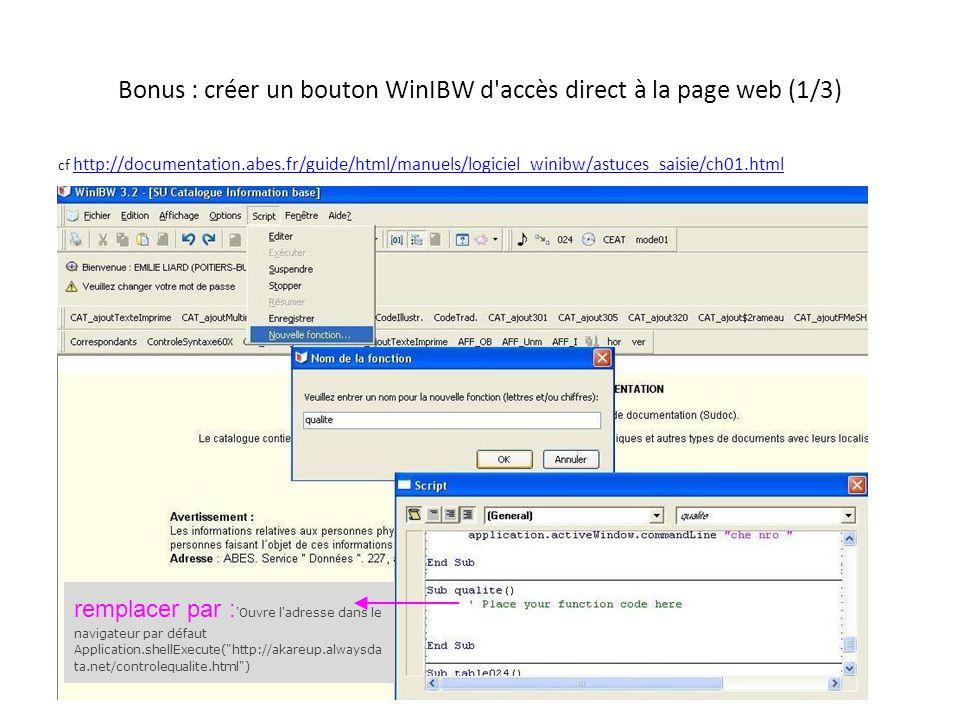 Bonus : créer un bouton WinIBW d accès direct à la page web (2/3)