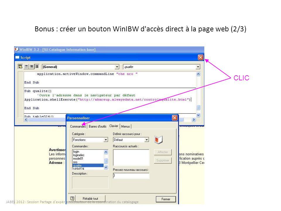 Bonus : créer un bouton WinIBW d accès direct à la page web (3/3)