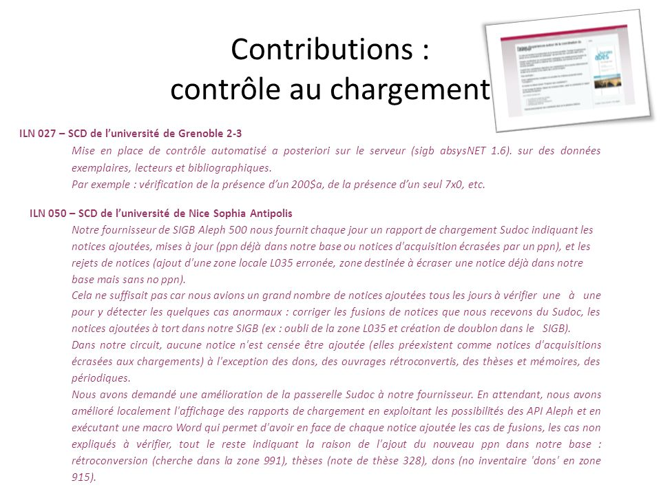 Contributions : contrôle au chargement